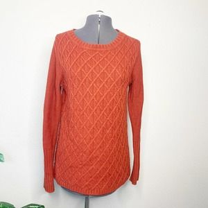 J. Crew Red Brick Cable Knit Crewneck Sweater S